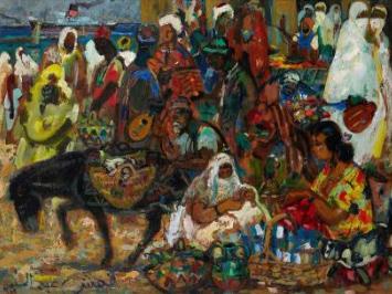 Abdel-Halim HEMCHE (Algérie / 1908-1979) – Reflets d'Alger, Marché – Estimation 20 000 à 30 000 €