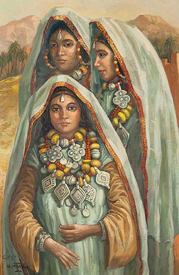 Meriem MEZIAN ( Maroc / 1930 – 2009) – Marocaines aux bijoux – Vente : 32 700 € (350 000 DH)