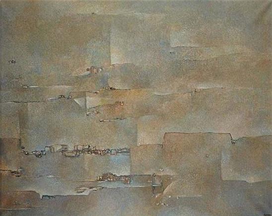 """ABDELKADERGUERMAZ(1919-1996) : Adjugée à 19 130 € en 2014 , """"Avant le commencement"""", huile sur toile, 130 cm x 162 cm."""